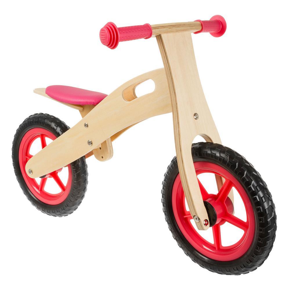Ultra-light 12 Rose Wooden Running/Balance Bike, Reds/Pinks