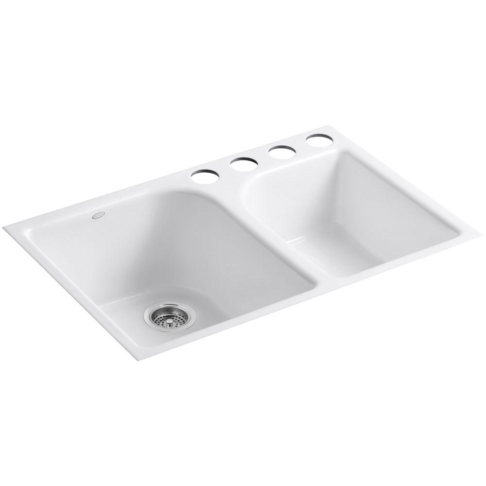 KOHLER Executive Chef Undermount Cast Iron 33 in. 4-Hole Double Bowl  Kitchen Sink in White