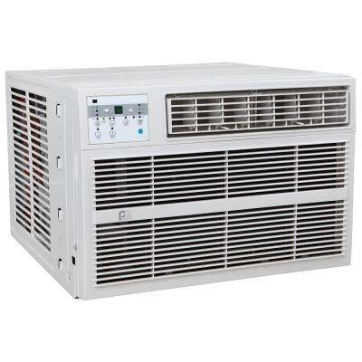 12,000 BTU Window Air Conditioner with Electric Heater in white