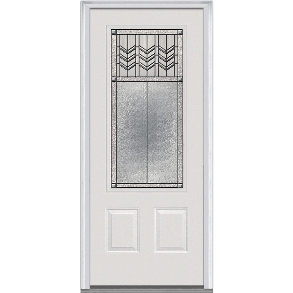 MMI Door 36 in. x 80 in. Prairie Bevel Right-Hand 3/  sc 1 st  The Home Depot & MMI Door 36 in. x 80 in. Prairie Bevel Right-Hand 3/4 Lite 2-Panel ...