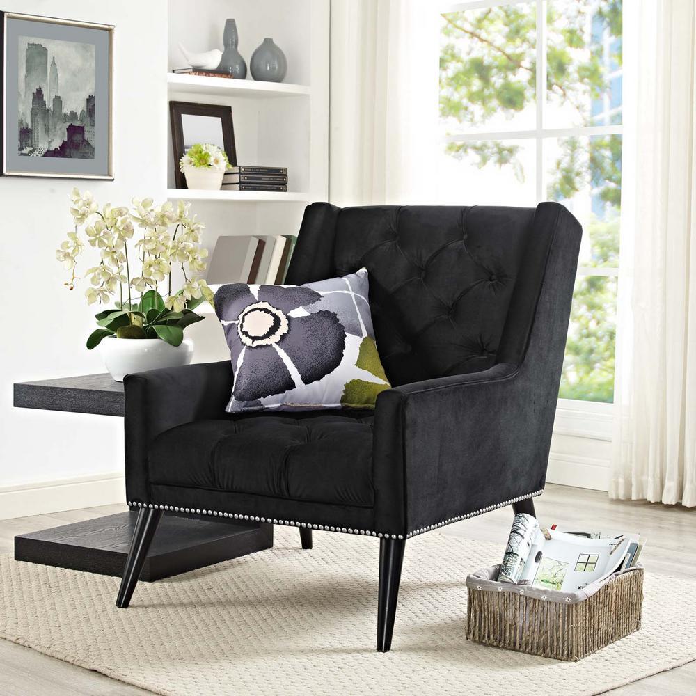 MODWAY Peruse Black Velvet Armchair