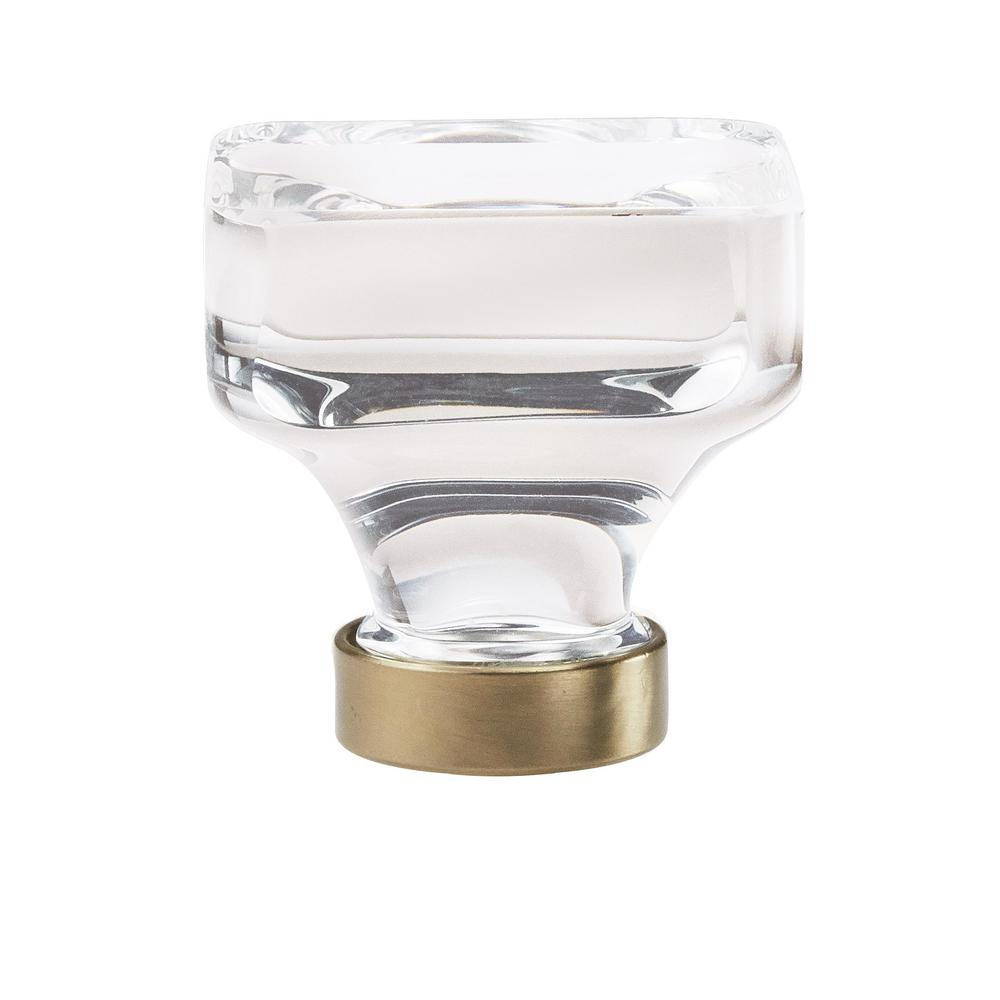 Glacio 1-3/8 in. (35 mm) Dia Clear Crystal/Golden Champagne Square Glass