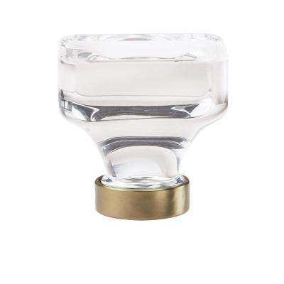 Glacio 1-3/8 in. (35 mm) Dia Clear Crystal/Golden Champagne Square Glass Cabinet Knob