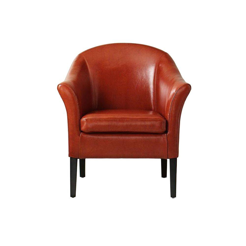 Home Decorators Collection Monte Carlo Burnt Orange Recycled Leather Club Arm  Chair 3294700570   The Home Depot