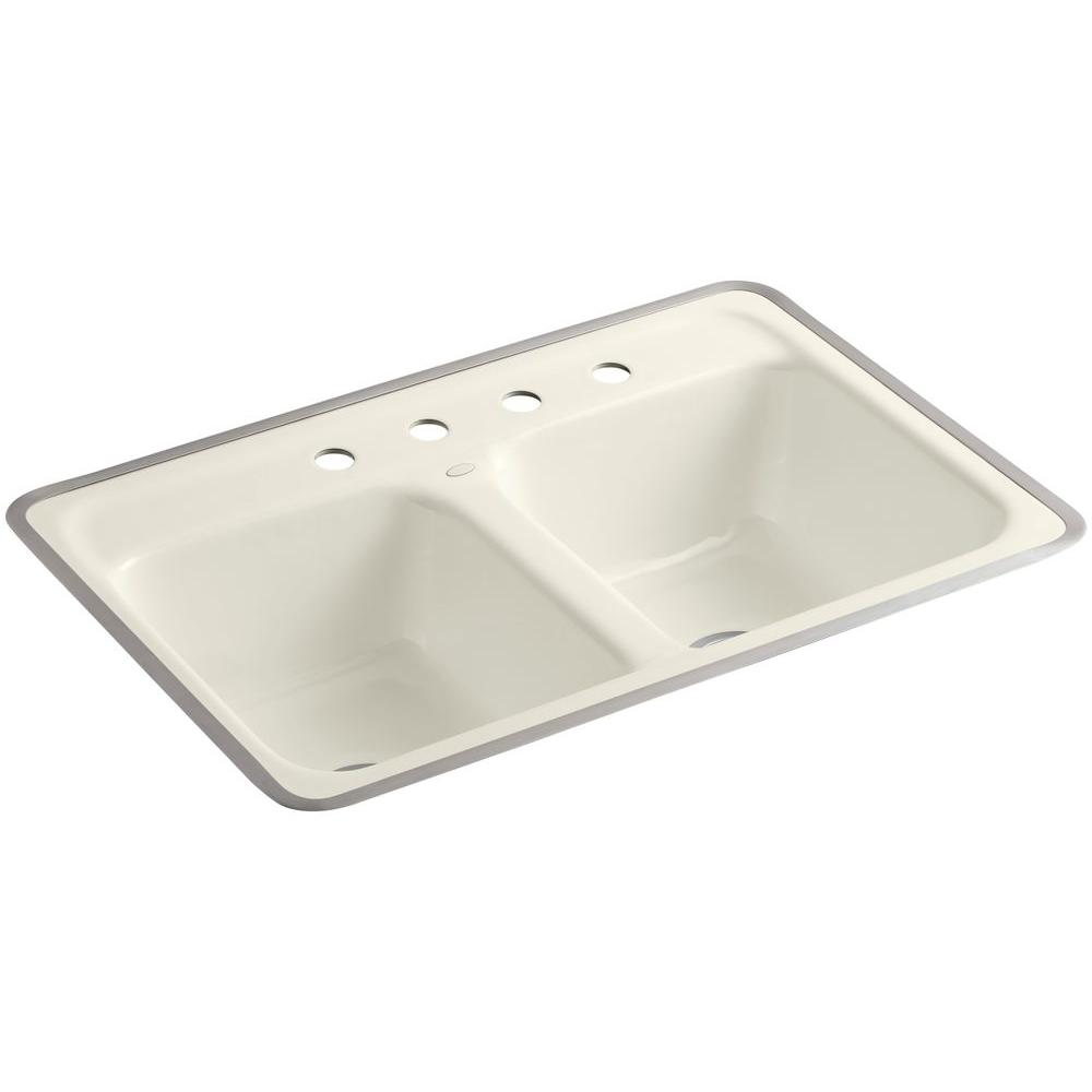 KOHLER Delafield Tile-In Cast-Iron 32 in. 4-Hole Double Bowl Kitchen Sink in Biscuit