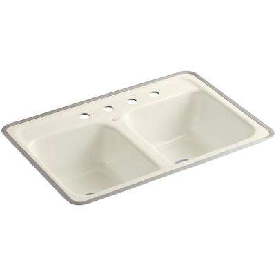 Delafield Tile-In Cast-Iron 32 in. 4-Hole Double Basin Kitchen Sink in Biscuit