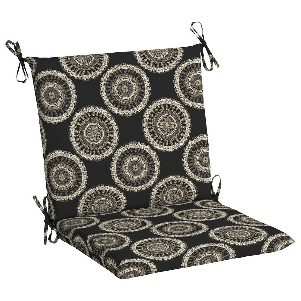 20 x 17 Outdoor Dining Chair Cushion in Standard Black Geo