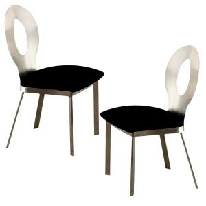 Valo Contemporary Silver and Black with Micro Fabric Cushion Chrome Side Chair (Set of 2)