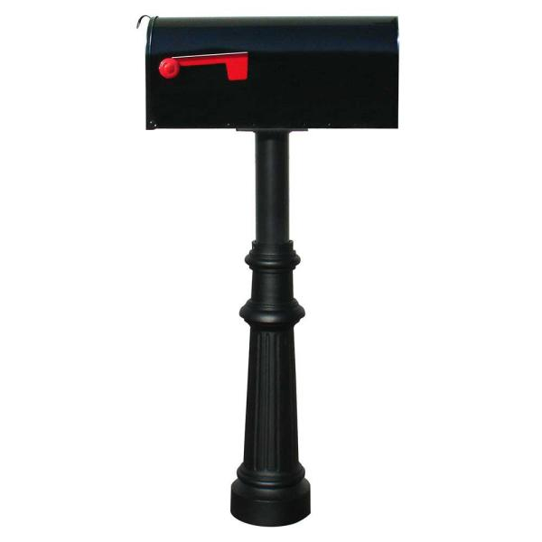 Hanford Single Black Post System Non-Locking Mailbox with Fluted Base and E1 Economy Mailbox