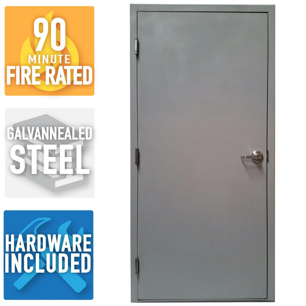 36 in. x 80 in. Fire-Rated Gray Right-Hand Flush Entrance Steel