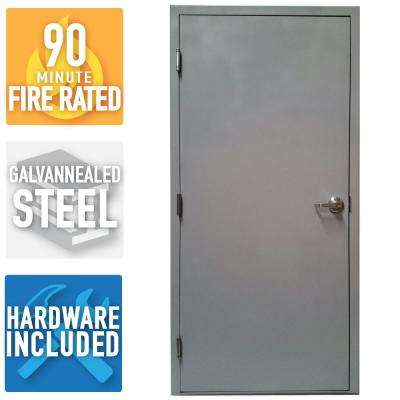 36 in x 80 in firerated gray righthand flush entrance