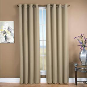Click here to buy  Blackout Ultimate Blackout Polyester Grommet Curtain Panel 56 inch W x 63 inch L Putty.