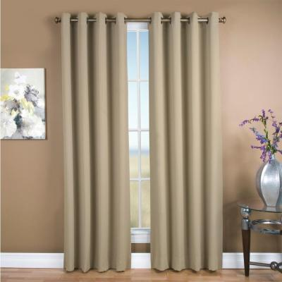 Ultimate Blackout 56 in. W x 63 in. L Polyester Blackout Window Panel in Putty