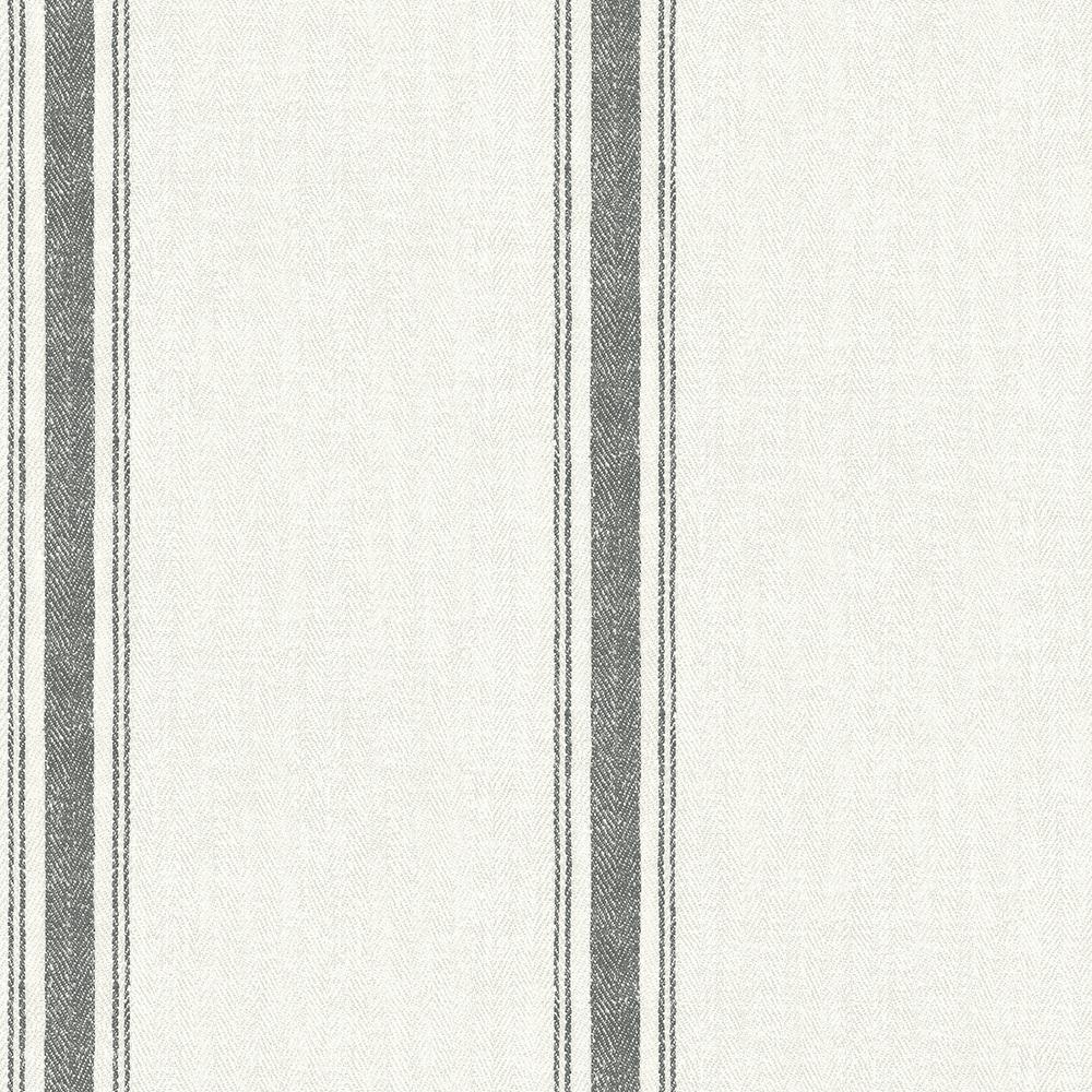 56.4 sq. ft. Linette Black Fabric Stripe Wallpaper