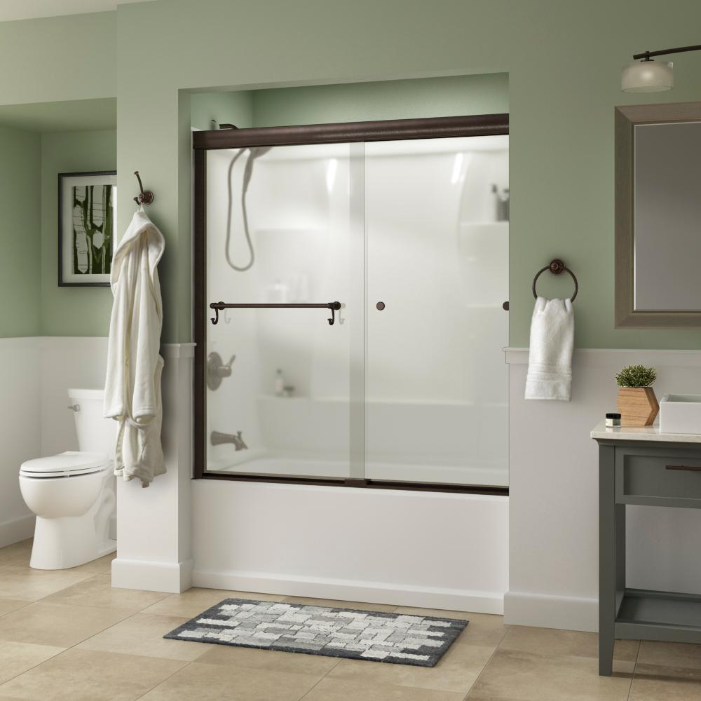Delta Portman 60 in. x 58-1/8 in. Semi-Frameless Traditional Sliding Bathtub Door in Bronze with Niebla Glass was $401.0 now $319.0 (20.0% off)