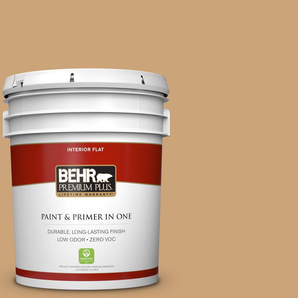 BEHR Premium Plus Home Decorators Collection 5 gal. #HDC-AC-13 Butter Nut Flat Zero VOC Interior Paint and Primer in One