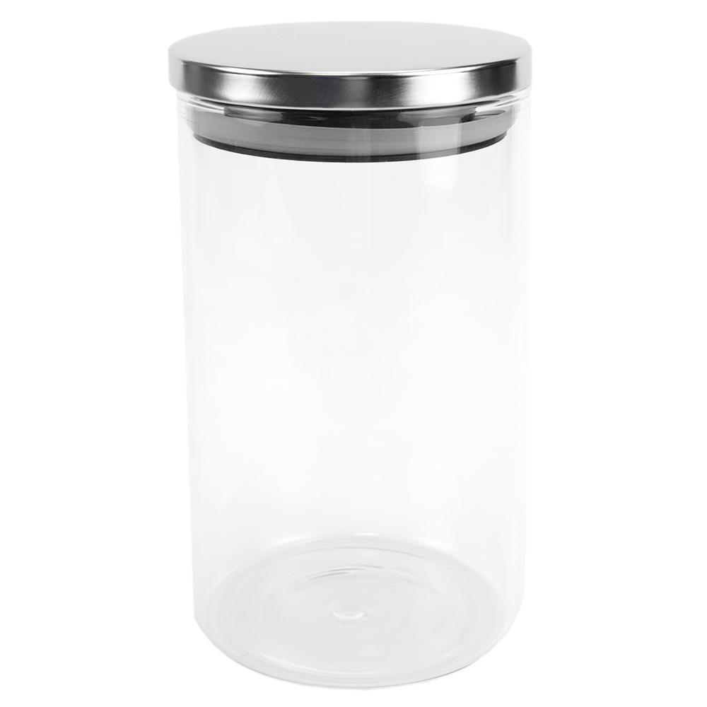 Home Basics Borosilicate 34 Oz Glass Canister With Stainless Steel Lid