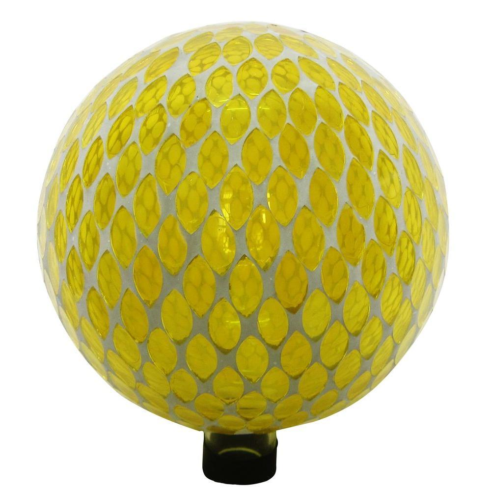 10 in. Yellow Mosaic Gazing Globe