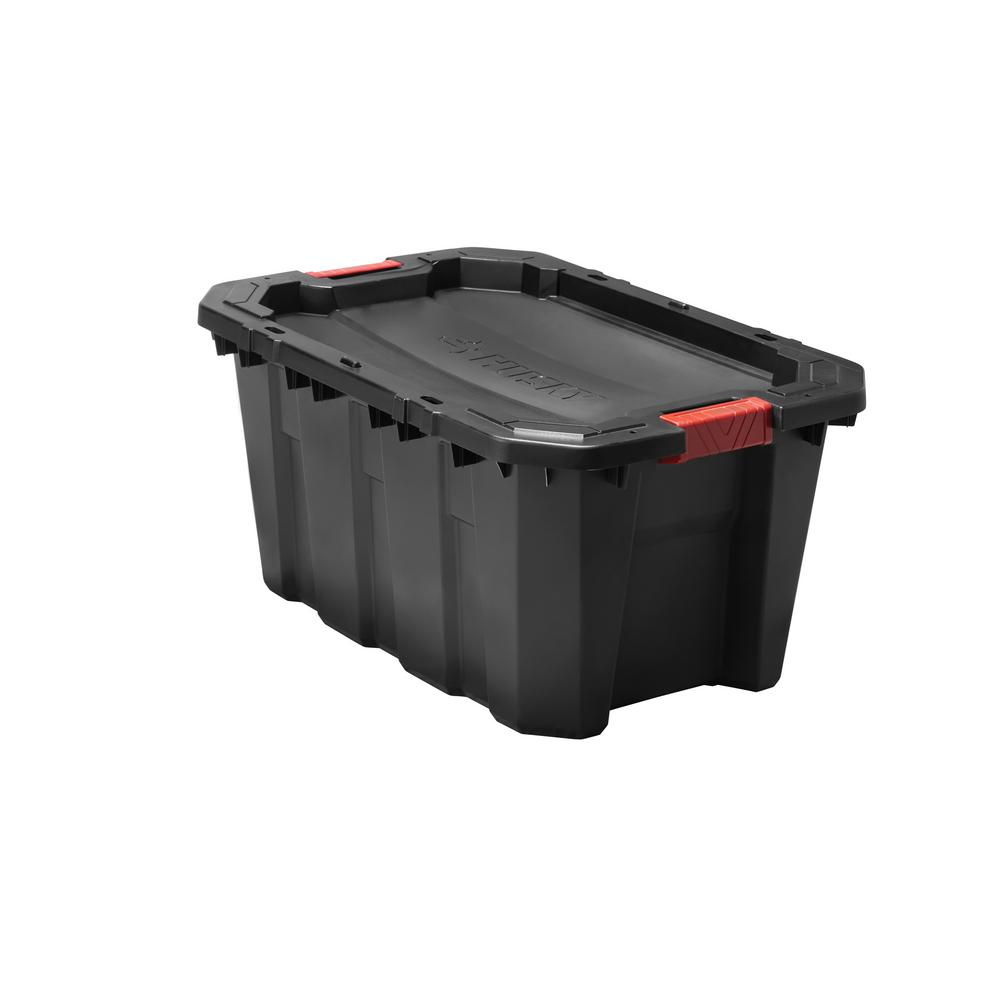 Husky 25 Gal. Latch and Stack Tote in Black