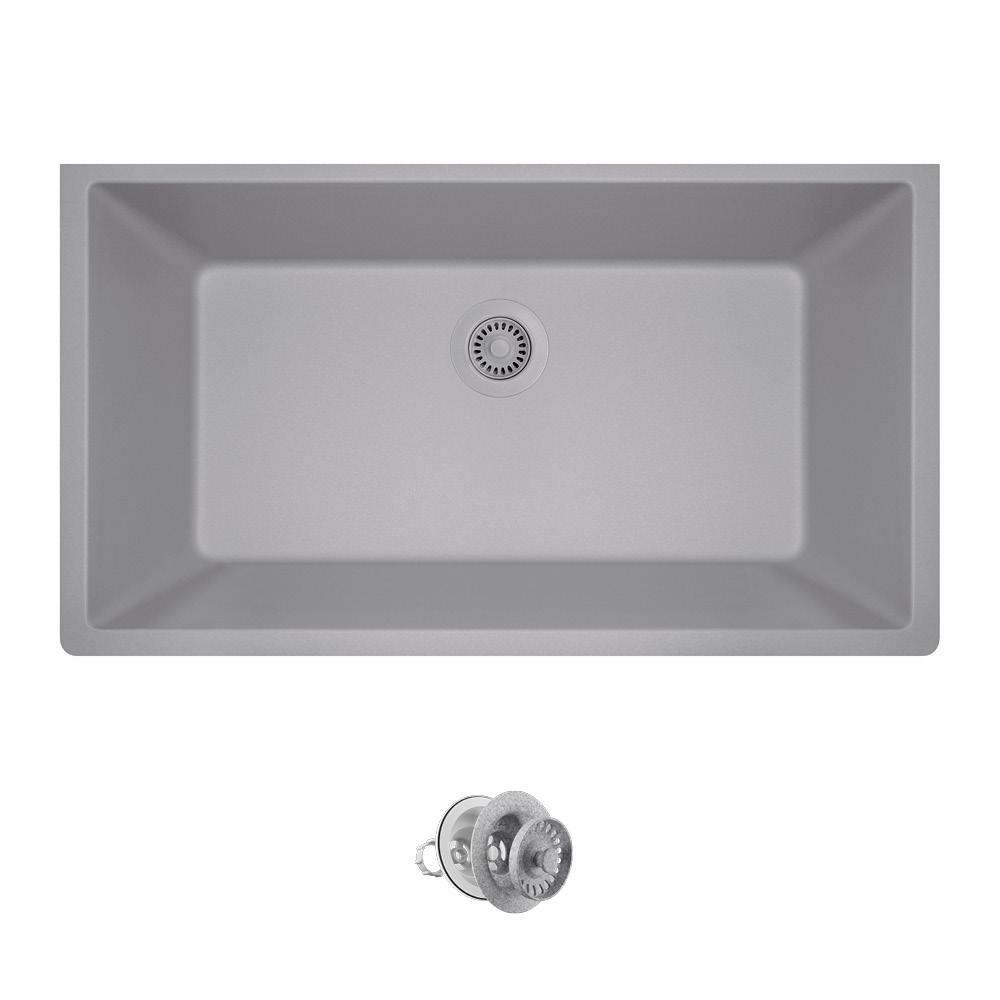 4e5e2c2bef0 All-in-One Undermount Composite 33 in. Single Bowl Kitchen Sink in Silver