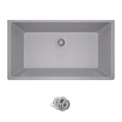 All-in-One Undermount Composite 33 in. Single Bowl Kitchen Sink in Silver