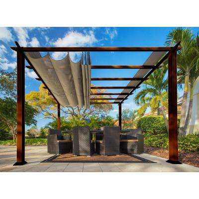 Paragon 11 ft. x 11 ft. Aluminum Pergola with the Look of Chilean Wood Grain Finish and Sand Color Convertible Canopy