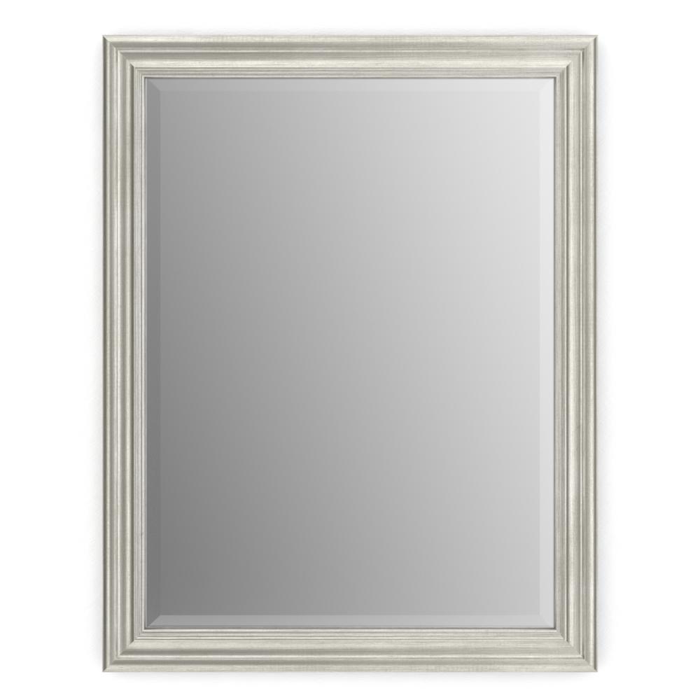 28 in. W x 36 in. H (M1) Framed Rectangular Deluxe Glass Bathroom Vanity Mirror in Vintage Nickel