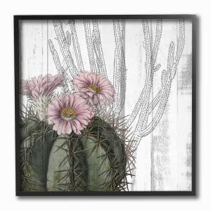 12 in. x 12 in. ''Cactus with Pink Blooming Flowers and Soft Grey Background'' by Kimberly Allen Framed Wall Art