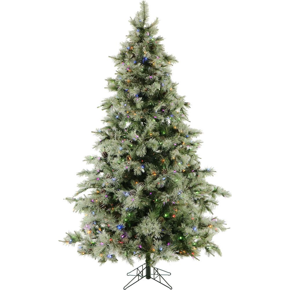 Artificial Christmas Tree With Pine Cones: Fraser Hill Farm 7.5 Ft. Pre-lit LED Glistening Pine