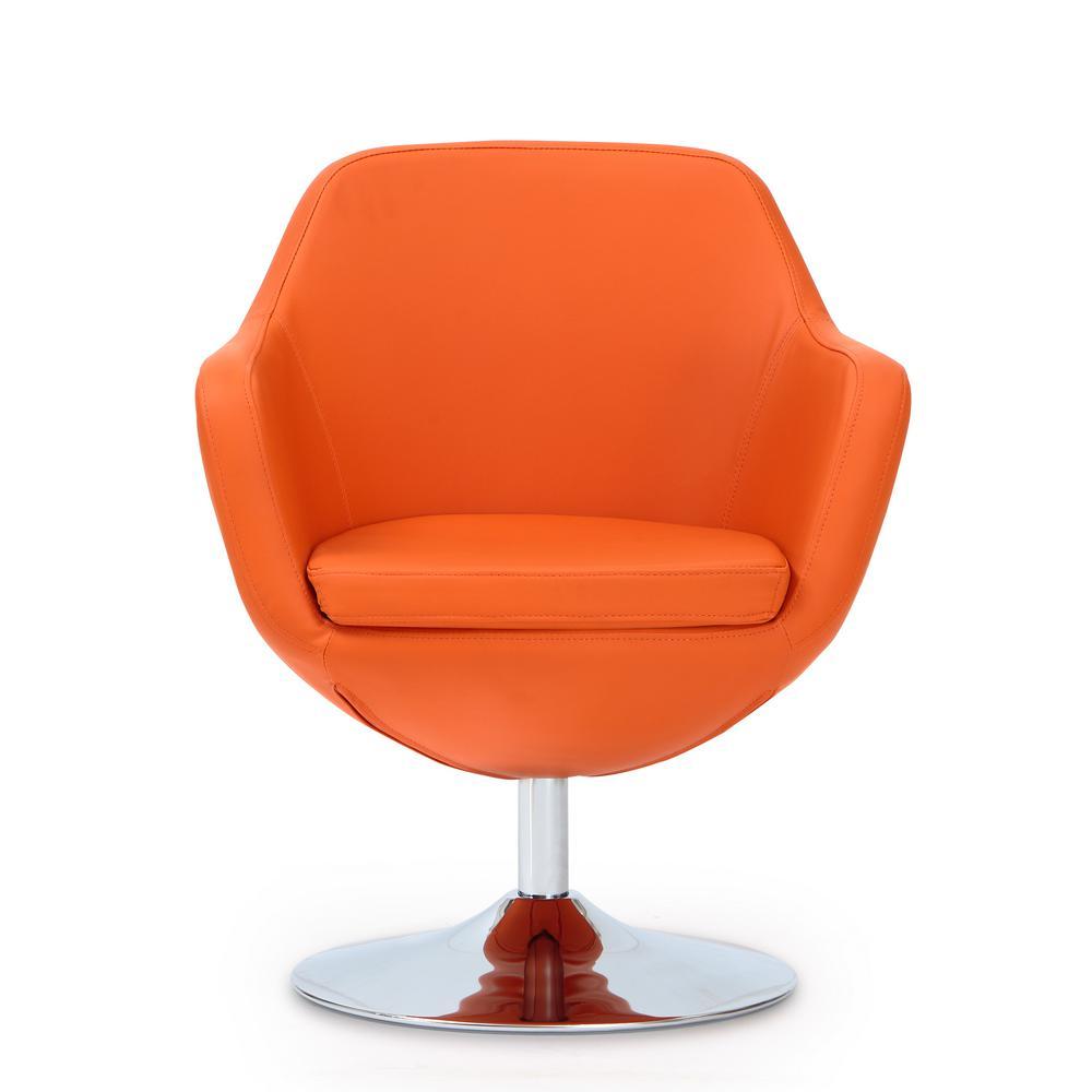 Burnt Orange Caisson Leatherette Swivel Accent Chair