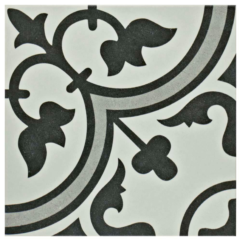Merola Tile Arte Grey Encaustic 9 34 In X 9 34 In Porcelain
