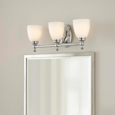 Solomone 3-Light Polished Chrome Vanity Light with Opal Glass Shades