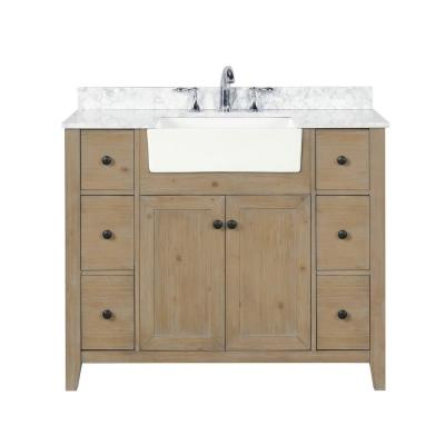 Sally 42 in. Single Bath Vanity in Weathered Fir with Marble Vanity Top in Carrara White with Farmhouse Basin
