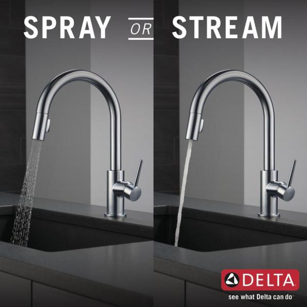 Delta Trinsic Single Handle Pull Down Sprayer Kitchen Faucet With Magnatite Docking In Arctic Stainless 9159 Ar Dst The Home Depot