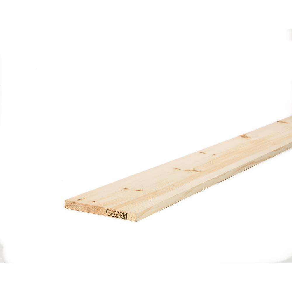 1 in. x 8 in. x 12 ft. Premium Kiln-Dried Square Edge Whitewood ...