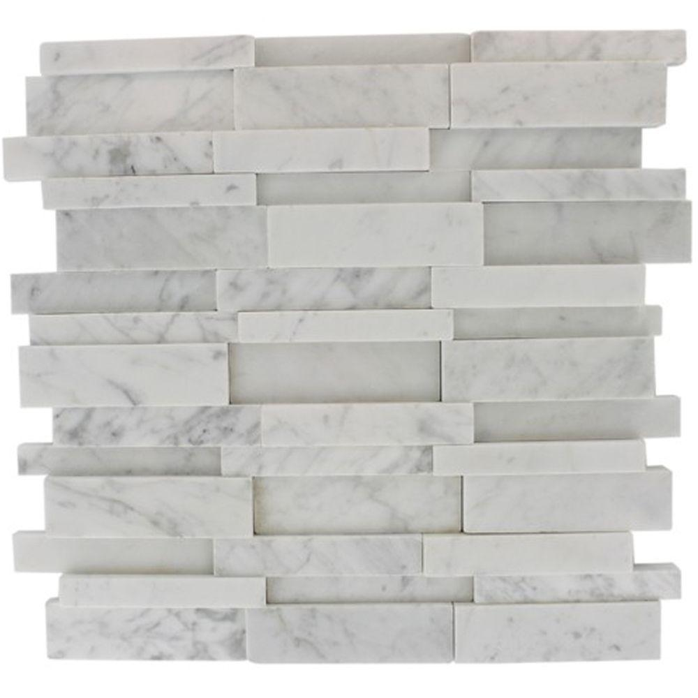 Splashback tile dimension 3d brick white carrera stone 12 in x 12 splashback tile dimension 3d brick white carrera stone 12 in x 12 in x 8 mm marble mosaic wall and floor tile dimension3dbrickwhitecarrera stone tiles dailygadgetfo Choice Image