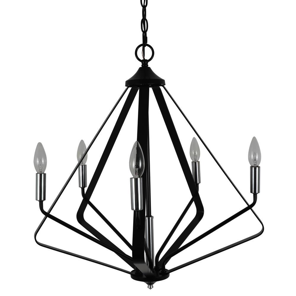 Harmon 5-Light Black and Chrome Chandelier