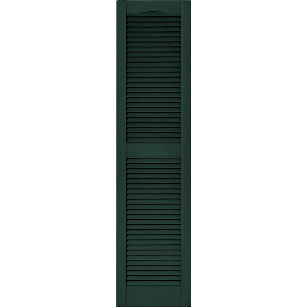 Builders Edge 15 In X 60 In Louvered Vinyl Exterior Shutters Pair In 122 Midnight Green