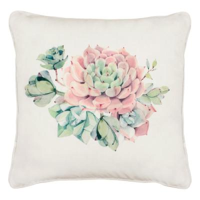 Desert Sunset White and Pink Floral Down 18 in. x 18 in. Throw Pillow