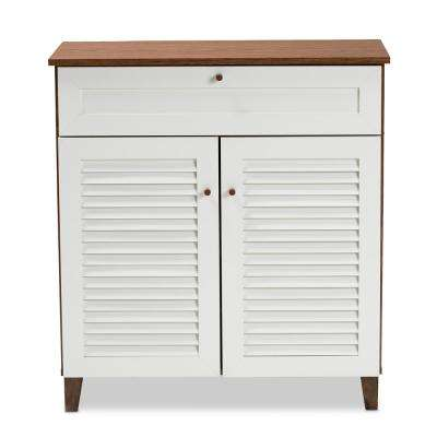 Coolidge 34 in. H x 31 in. W 12-Pair White and Walnut Wood Shoe Storage Cabinet with Drawers and Shelves