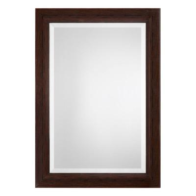Large Rectangle Brown And Silver Modern Mirror (42.43 in. H x 30.43 in. W)