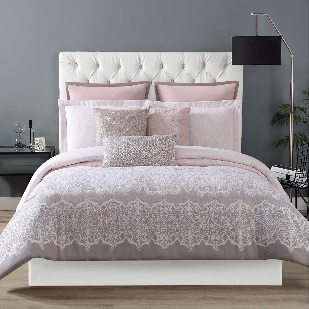 Home Decorators Collection Hana Grey Pink Queen Duvet