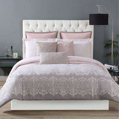 Ombre Lace Pink King Duvet with Pillow Shams