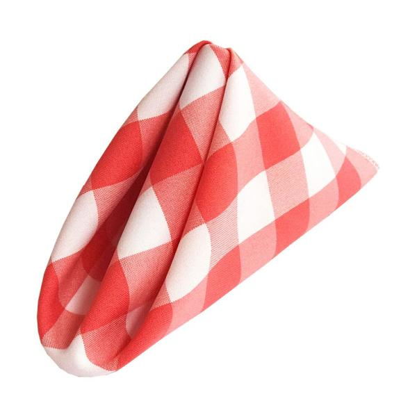 LA Linen 18 in. x 18 in. White and Coral Gingham