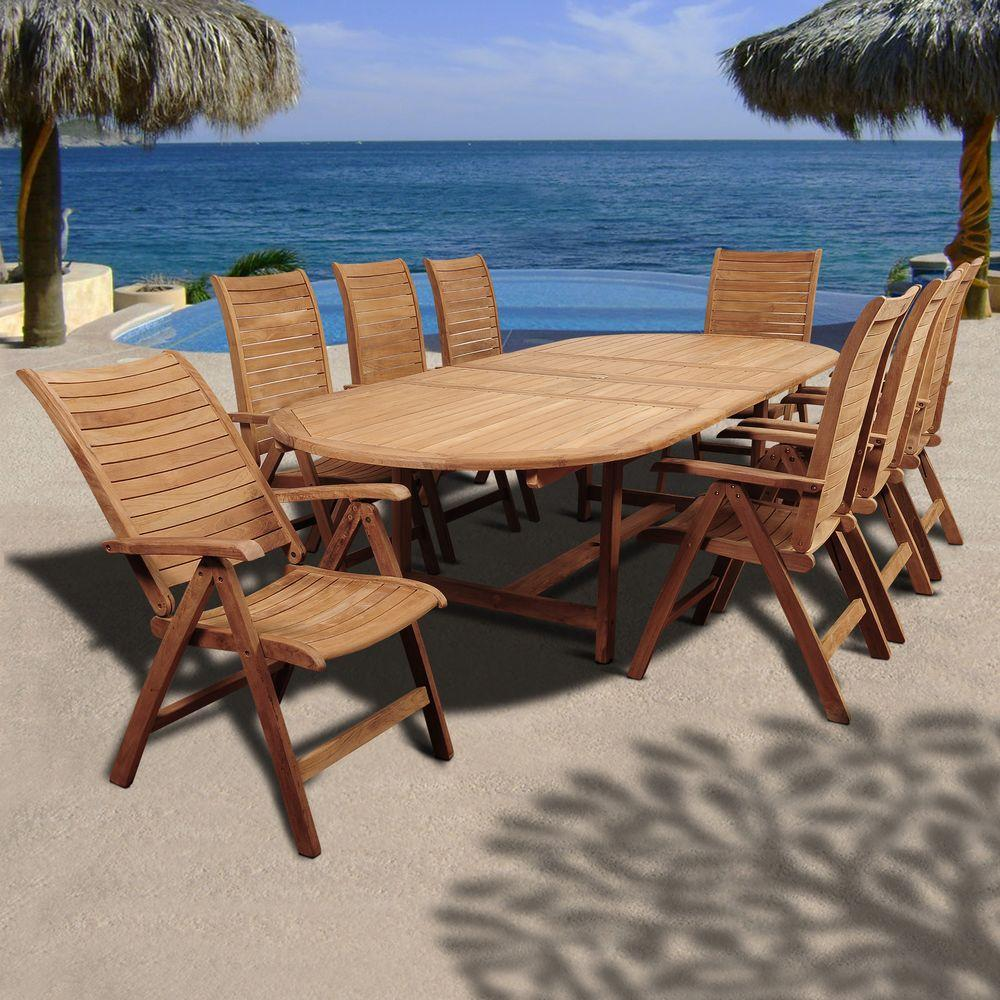 Amazonia Irving 9 Piece Teak Double Extendable Oval Patio Dining Set