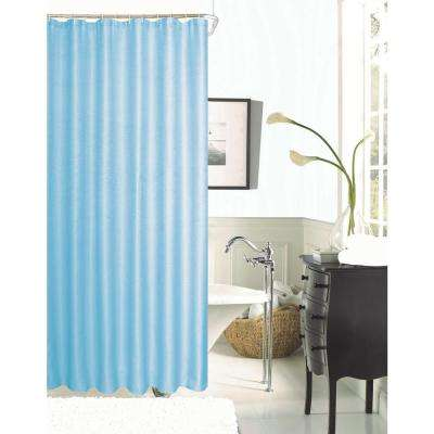 Hotel Collection Waffle 72 in. Aqua Shower Curtain