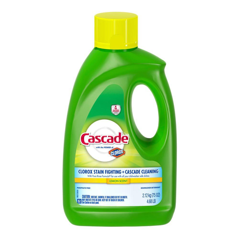cascade 75 oz lemon scent dishwasher gel with power of clorox 003700040154 the home depot. Black Bedroom Furniture Sets. Home Design Ideas