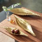 37 in., 30 in., 23 in. Large Metallic Gold Metal Boat Trays (Set of 3)