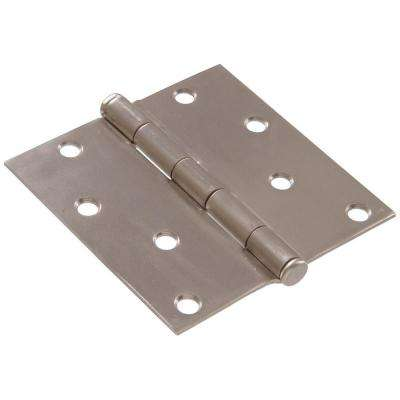 4 in. Satin Nickel Residential Door Hinge with Square Corner Removable Pin Full Mortise (9-Pack)