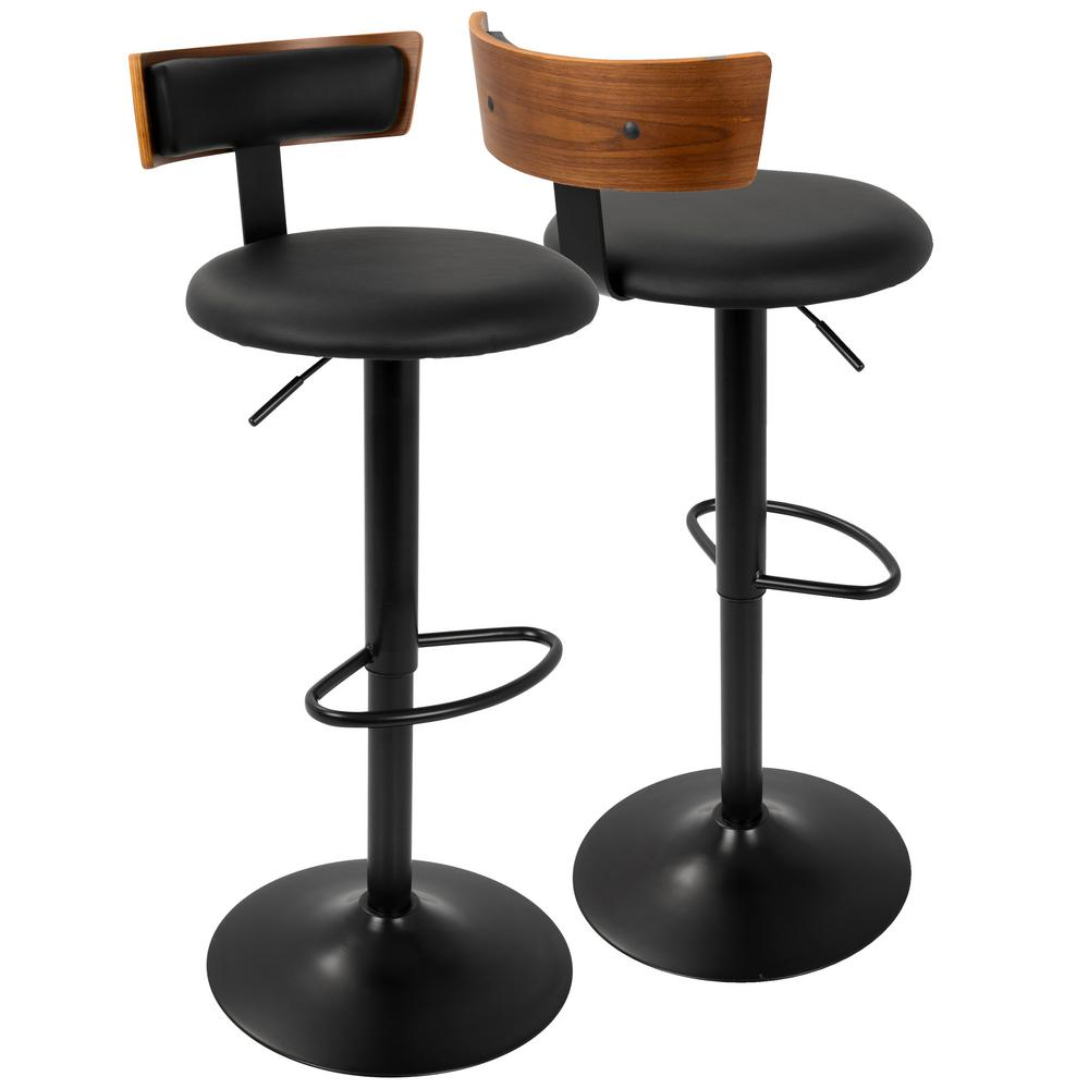 Lumisource Weller Walnut Black Adjustable Barstool Product Picture